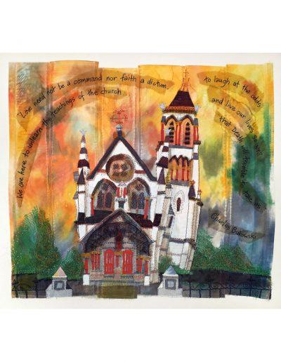 textile artwork Death Will Tremble SOLD