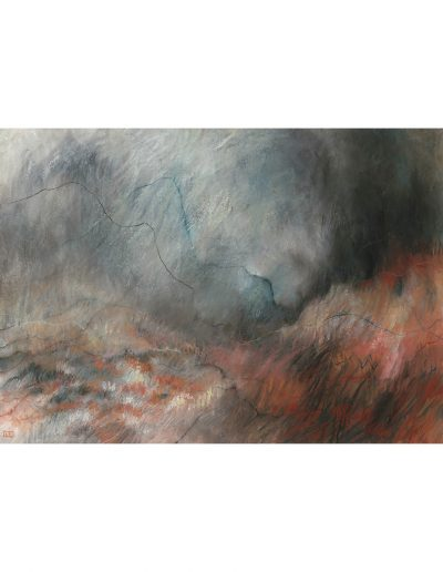 Abstract drawing in pastels: On the Hills SOLD